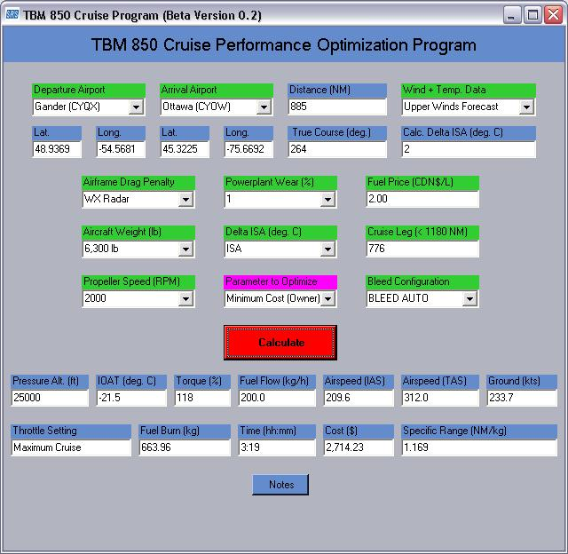 TBM 850 Optimization Program v0.2